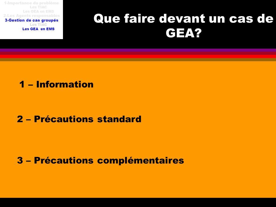 Que faire devant un cas de GEA