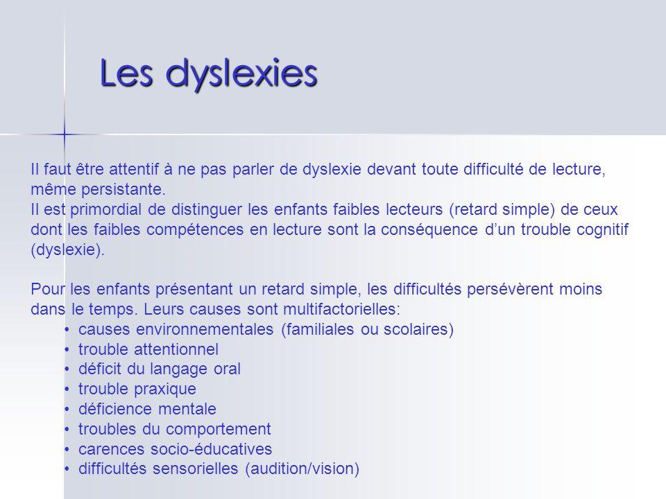 Les dyslexies Il faut être attentif à ne pas parler de dyslexie devant toute difficulté de lecture, même persistante.