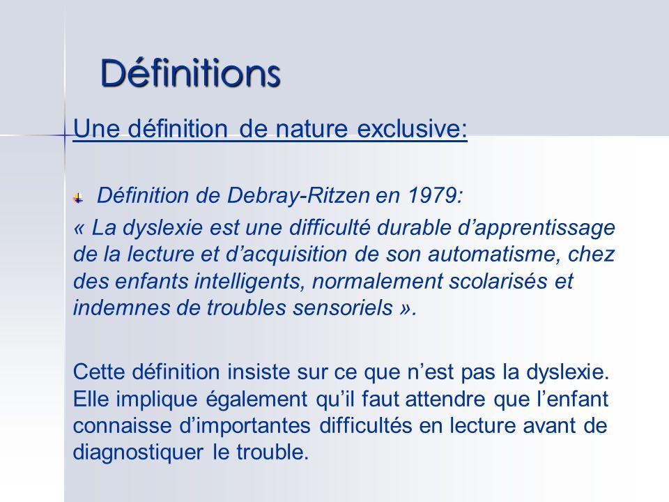 Définitions Une définition de nature exclusive: