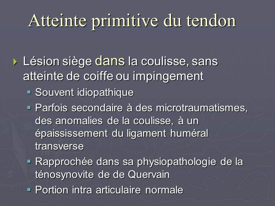Atteinte primitive du tendon