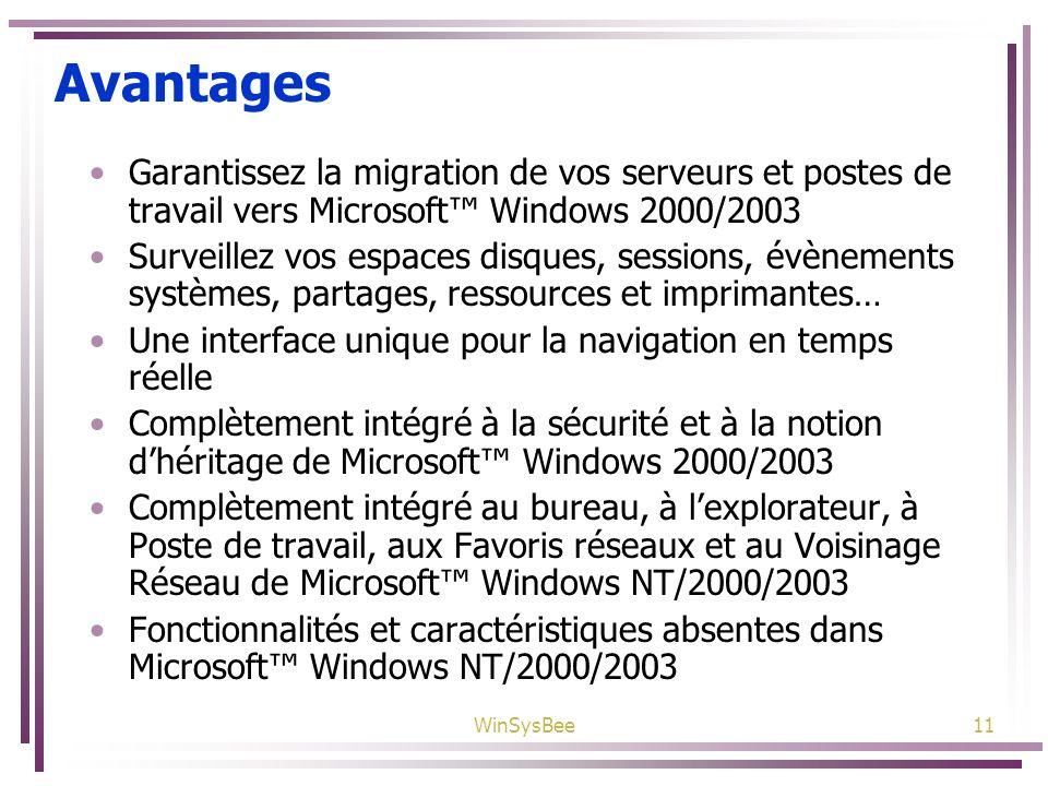 AvantagesGarantissez la migration de vos serveurs et postes de travail vers Microsoft™ Windows 2000/2003.