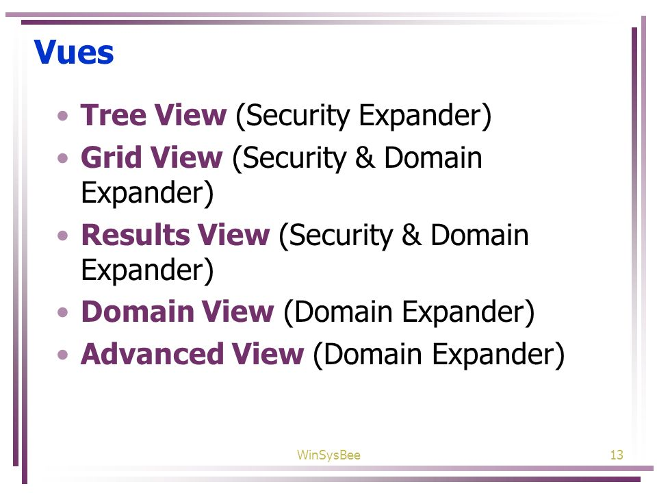 Vues Tree View (Security Expander)