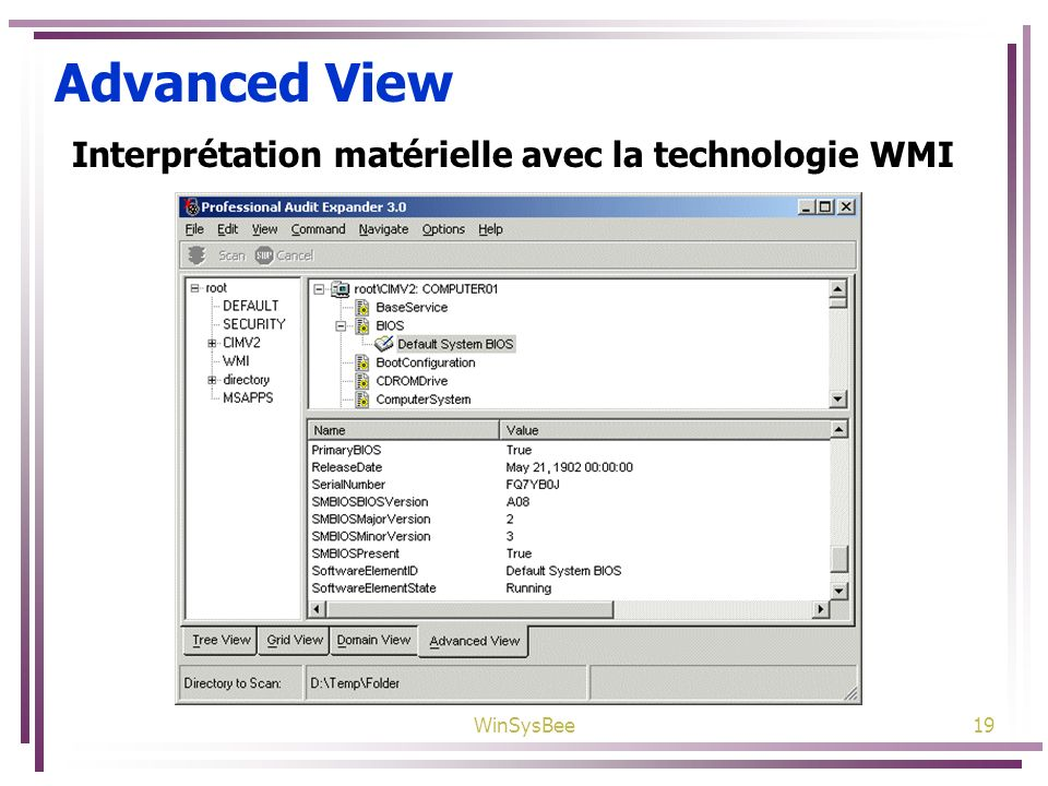 Advanced View Interprétation matérielle avec la technologie WMI