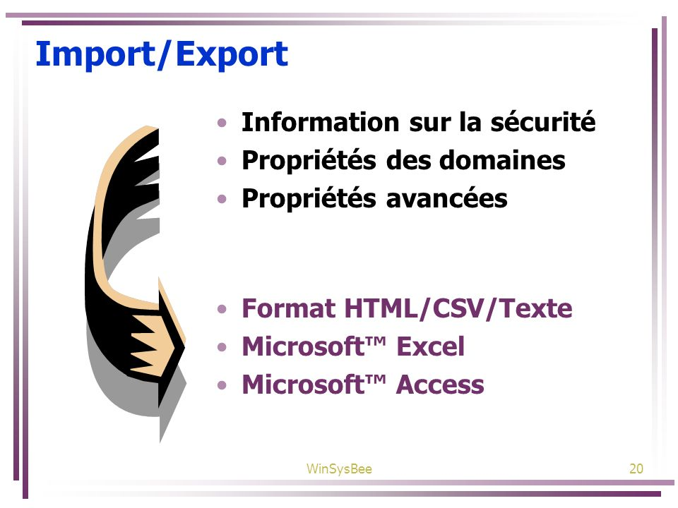 Import/Export Information sur la sécurité Propriétés des domaines