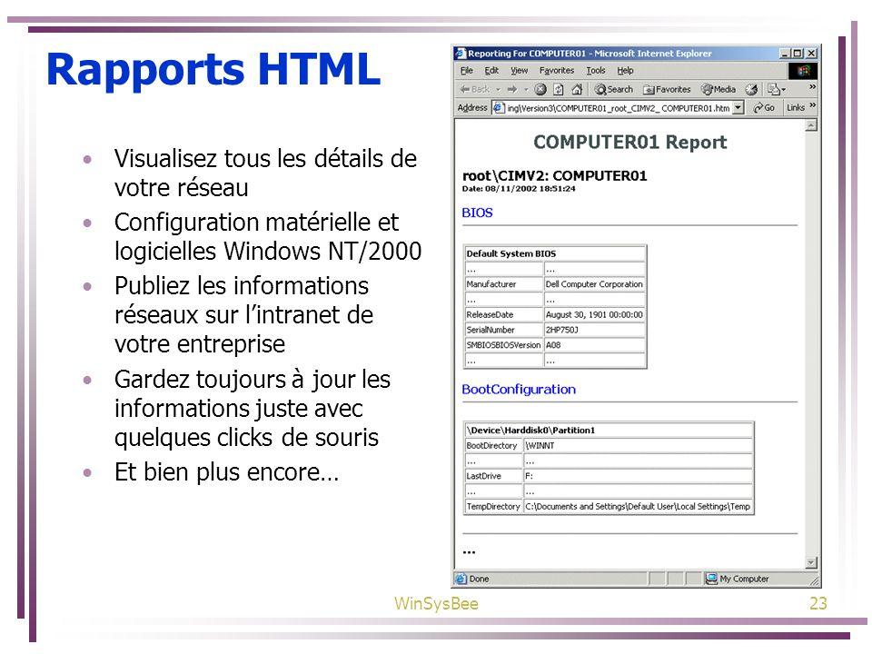Rapports HTML Visualisez tous les détails de votre réseau