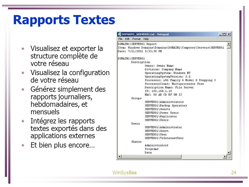 Rapports Textes Visualisez et exporter la structure complète de votre réseau. Visualisez la configuration de votre réseau.