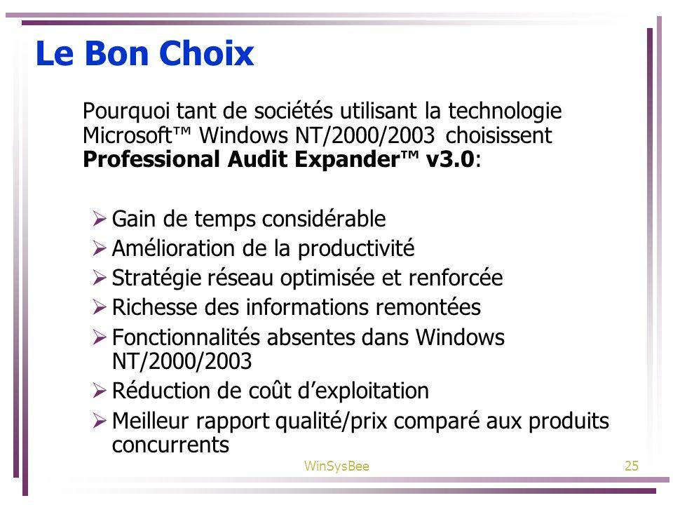 Le Bon Choix Pourquoi tant de sociétés utilisant la technologie Microsoft™ Windows NT/2000/2003 choisissent Professional Audit Expander™ v3.0: