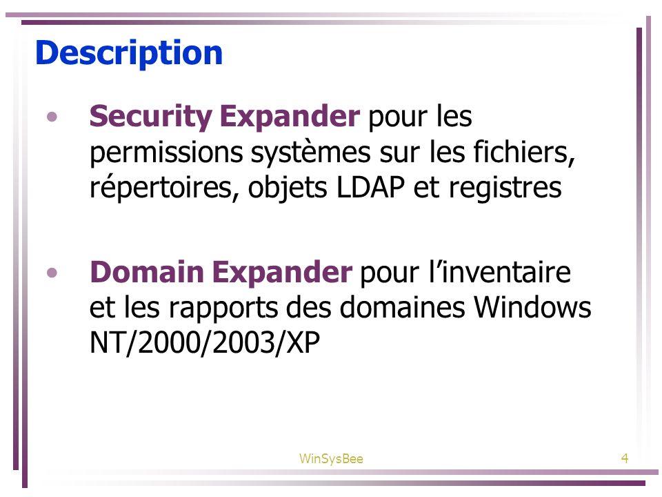 Description Security Expander pour les permissions systèmes sur les fichiers, répertoires, objets LDAP et registres.