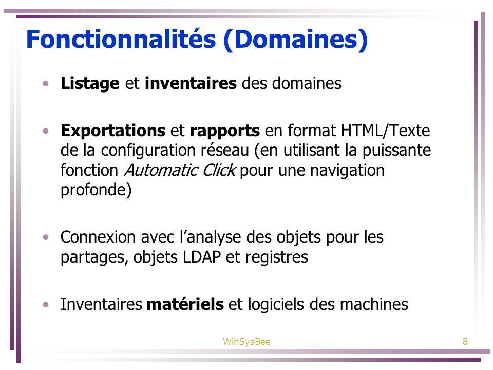 Fonctionnalités (Domaines)