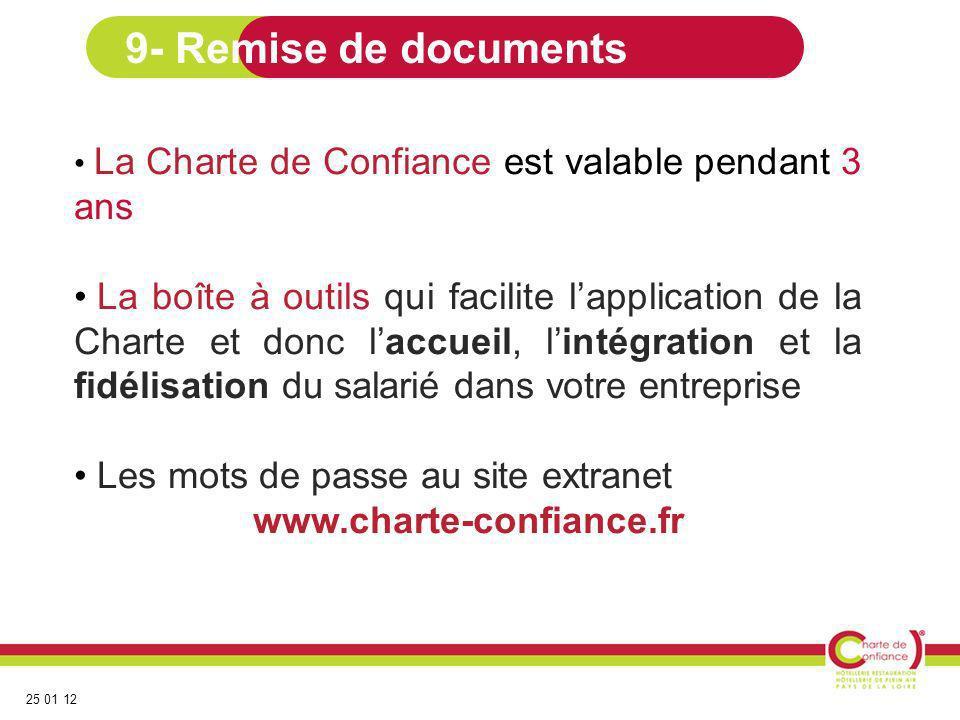 9- Remise de documents La Charte de Confiance est valable pendant 3 ans.