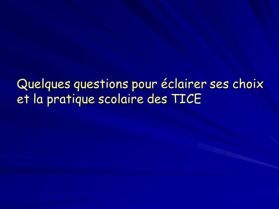 Quelques questions pour éclairer ses choix et la pratique scolaire des TICE