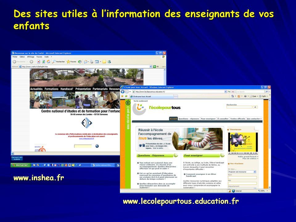 Des sites utiles à l'information des enseignants de vos enfants