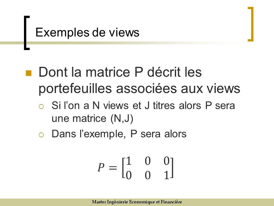 Dont la matrice P décrit les portefeuilles associées aux views