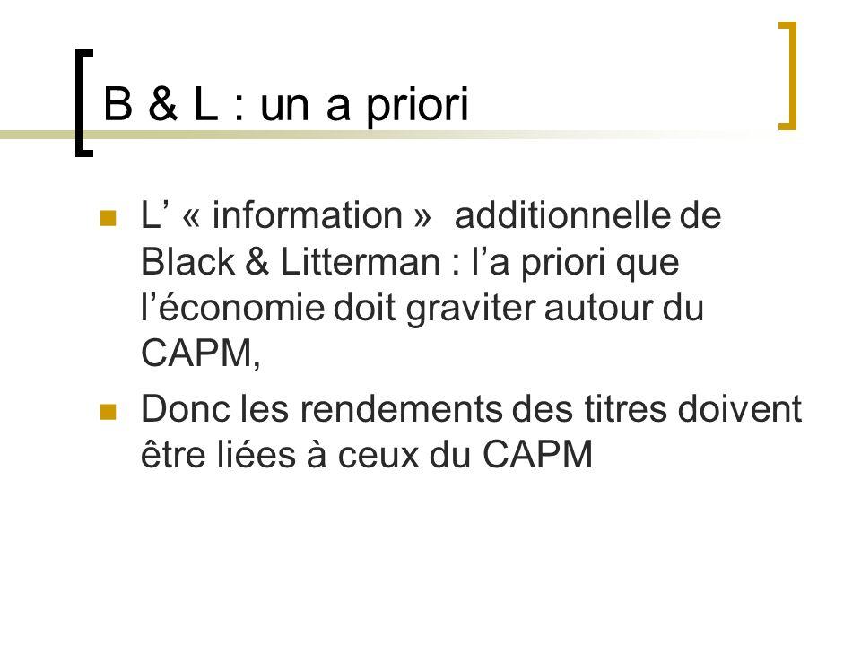 B & L : un a priori L' « information » additionnelle de Black & Litterman : l'a priori que l'économie doit graviter autour du CAPM,