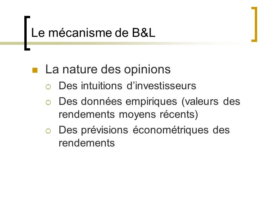 Le mécanisme de B&L La nature des opinions