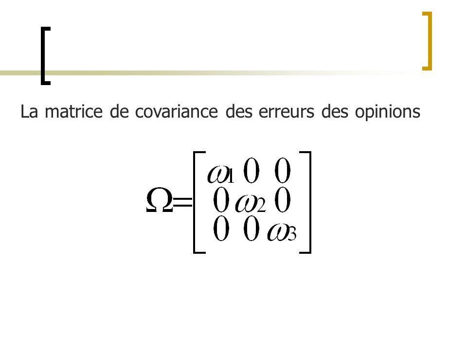 La matrice de covariance des erreurs des opinions