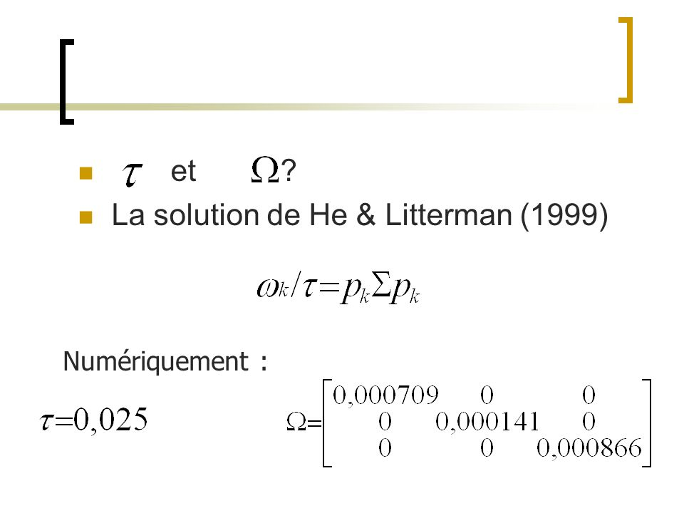 La solution de He & Litterman (1999)