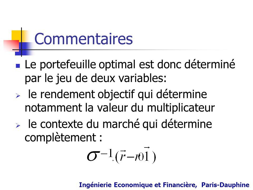 Commentaires Le portefeuille optimal est donc déterminé par le jeu de deux variables:
