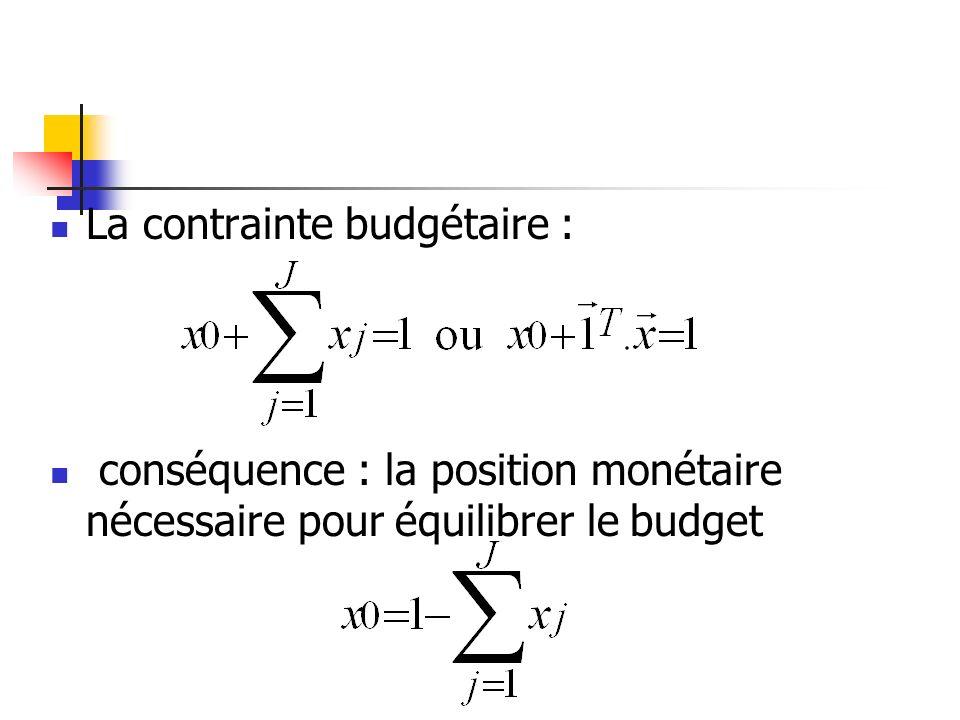 La contrainte budgétaire :