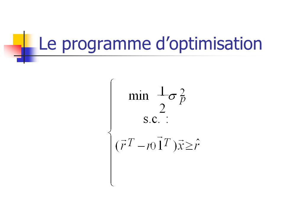 Le programme d'optimisation