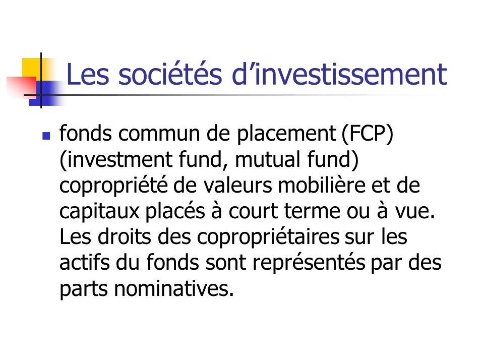 Les sociétés d'investissement