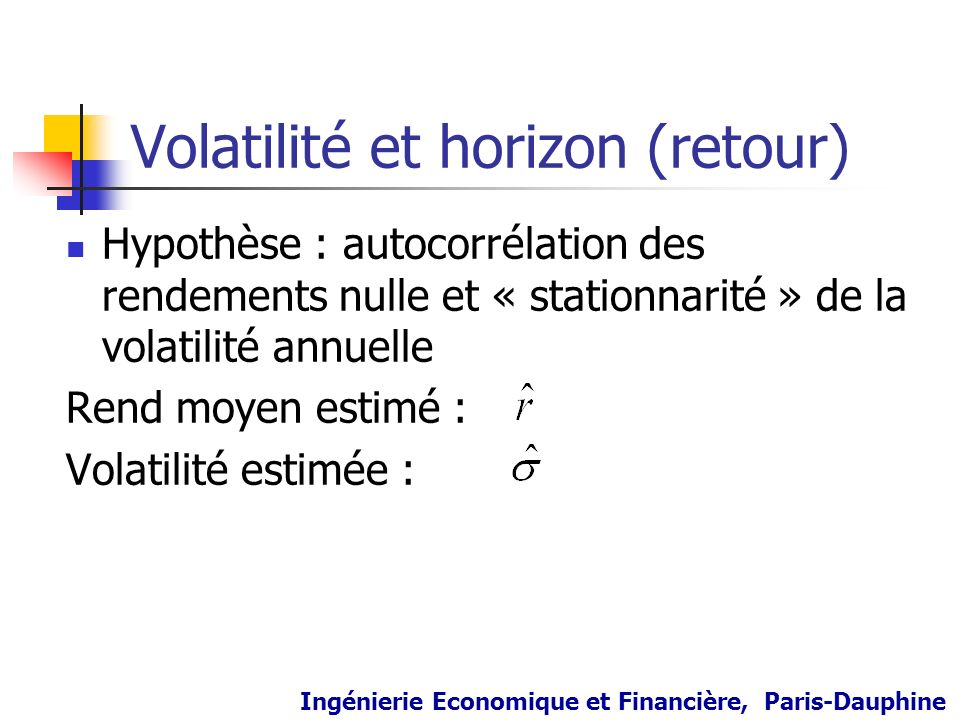 Volatilité et horizon (retour)