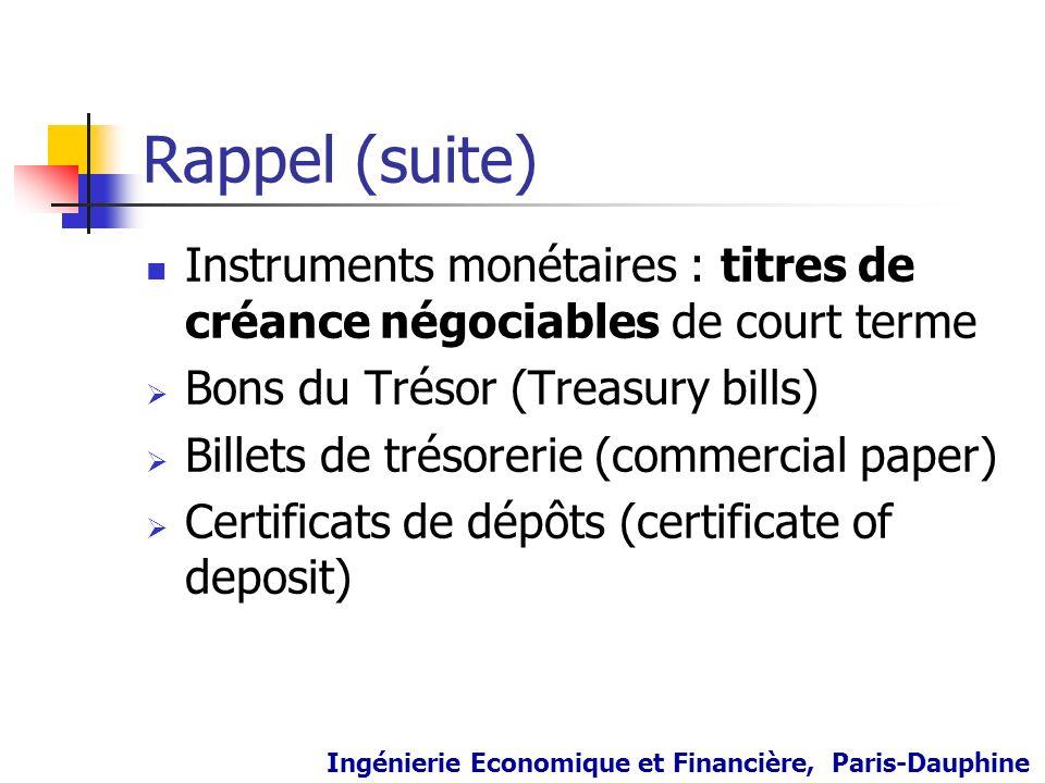 Rappel (suite) Instruments monétaires : titres de créance négociables de court terme. Bons du Trésor (Treasury bills)