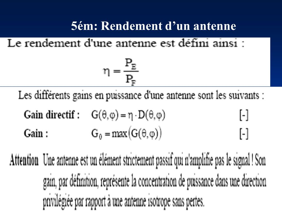 5ém: Rendement d'un antenne