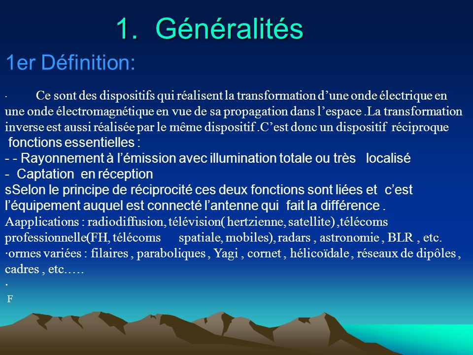 1. Généralités 1er Définition: fonctions essentielles :