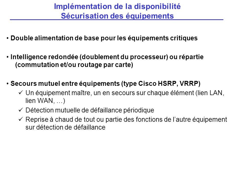 Implémentation de la disponibilité Sécurisation des équipements