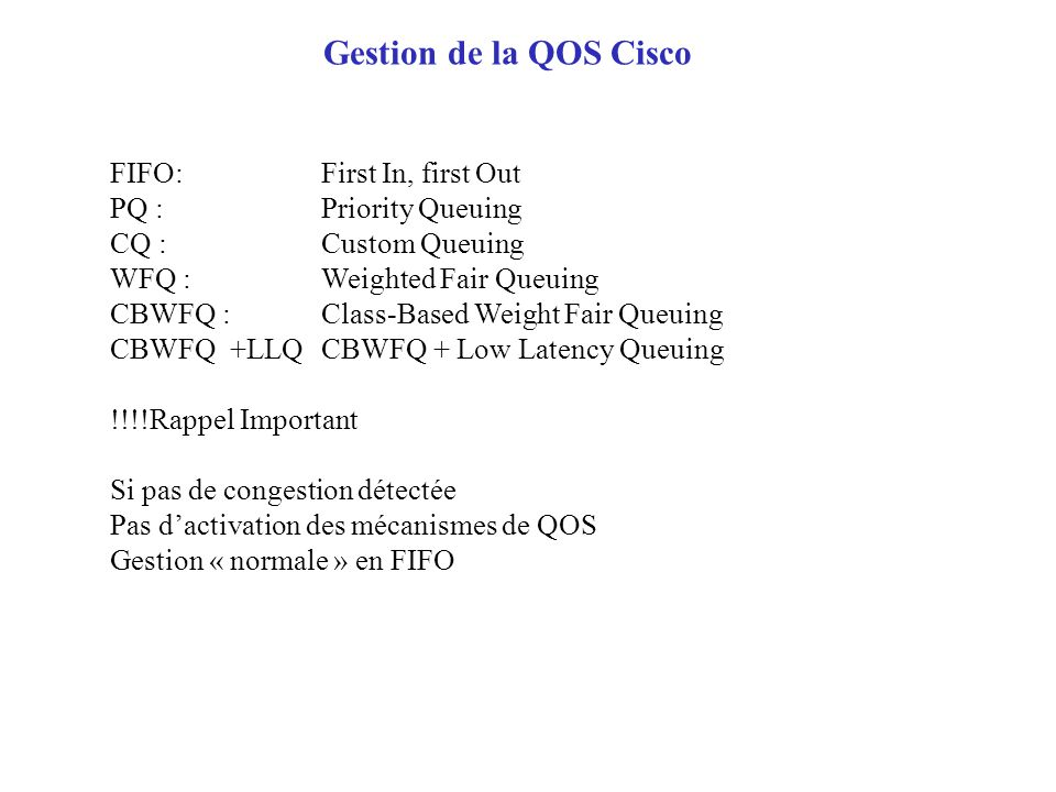 Gestion de la QOS Cisco FIFO: First In, first Out
