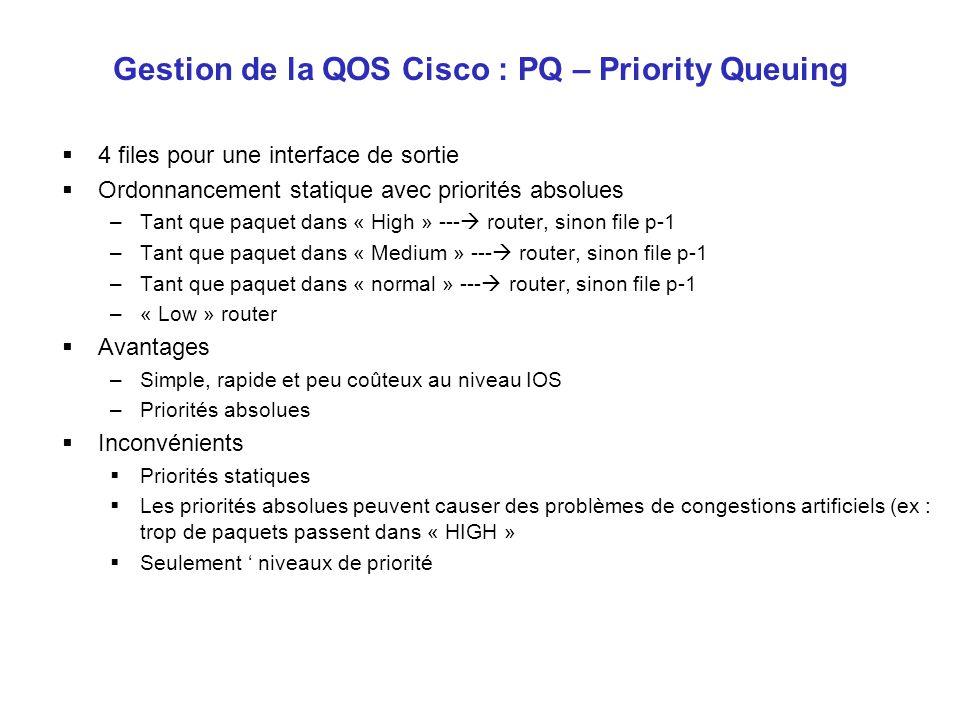 Gestion de la QOS Cisco : PQ – Priority Queuing