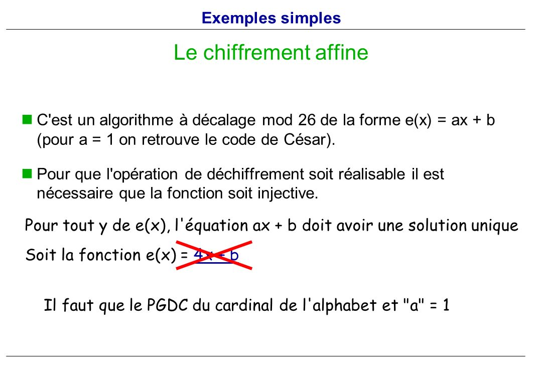 Le chiffrement affine Exemples simples