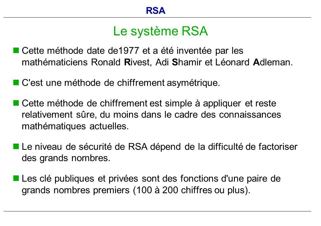 RSA Le système RSA. Cette méthode date de1977 et a été inventée par les mathématiciens Ronald Rivest, Adi Shamir et Léonard Adleman.