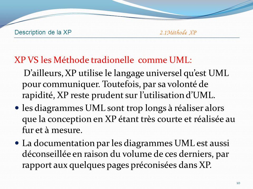 XP VS les Méthode tradionelle comme UML: