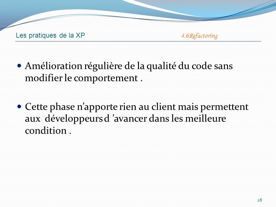 Les pratiques de la XP 4.6Refactoring