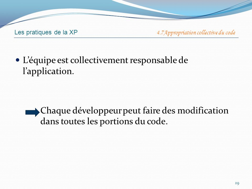 L'équipe est collectivement responsable de l'application.