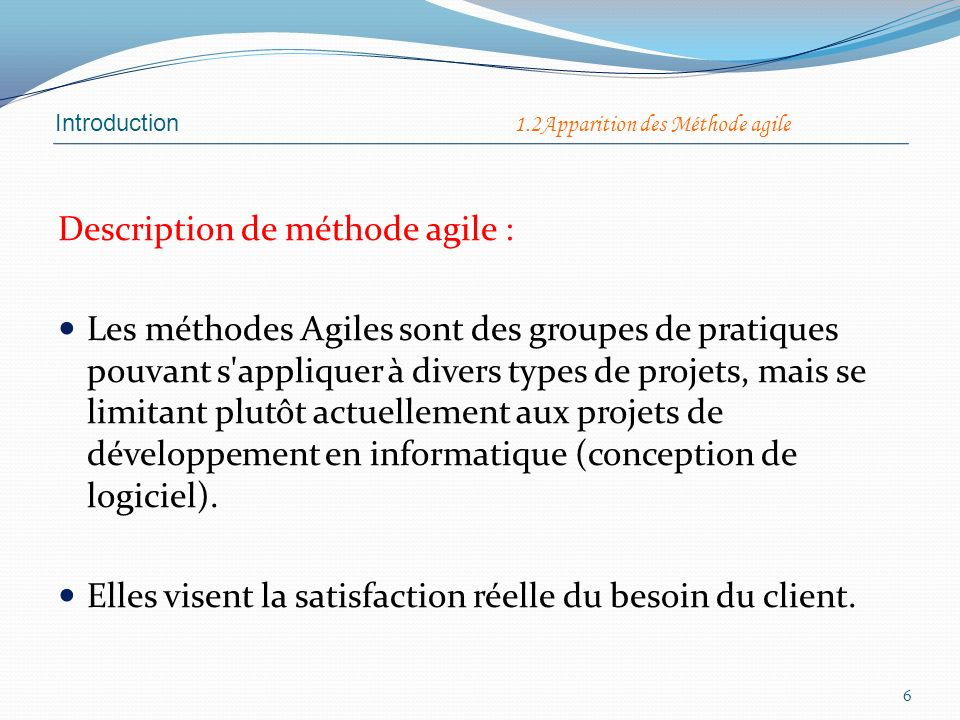 Description de méthode agile :