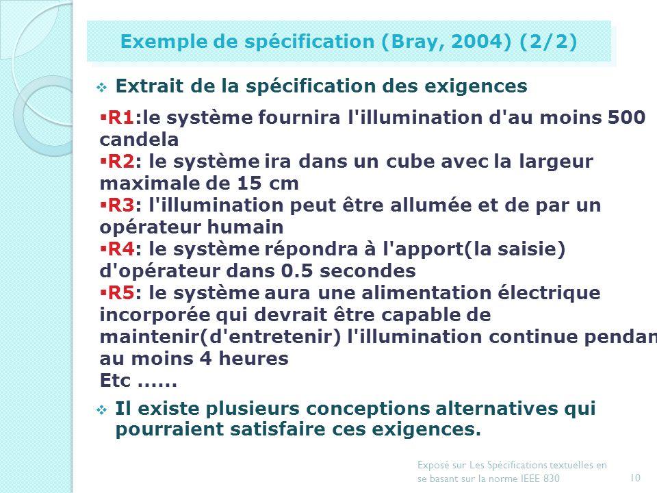 Exemple de spécification (Bray, 2004) (2/2)
