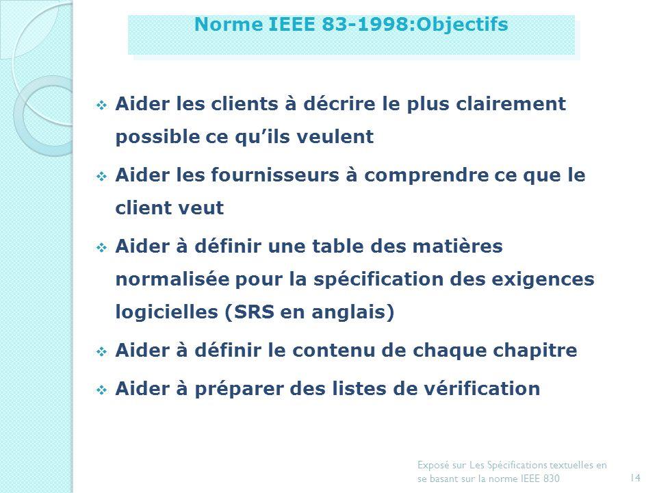 Norme IEEE 83-1998:Objectifs