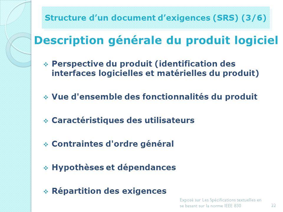 Description générale du produit logiciel