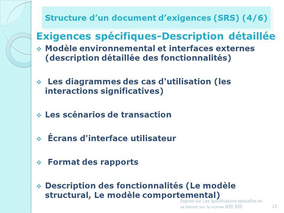 Exigences spécifiques-Description détaillée