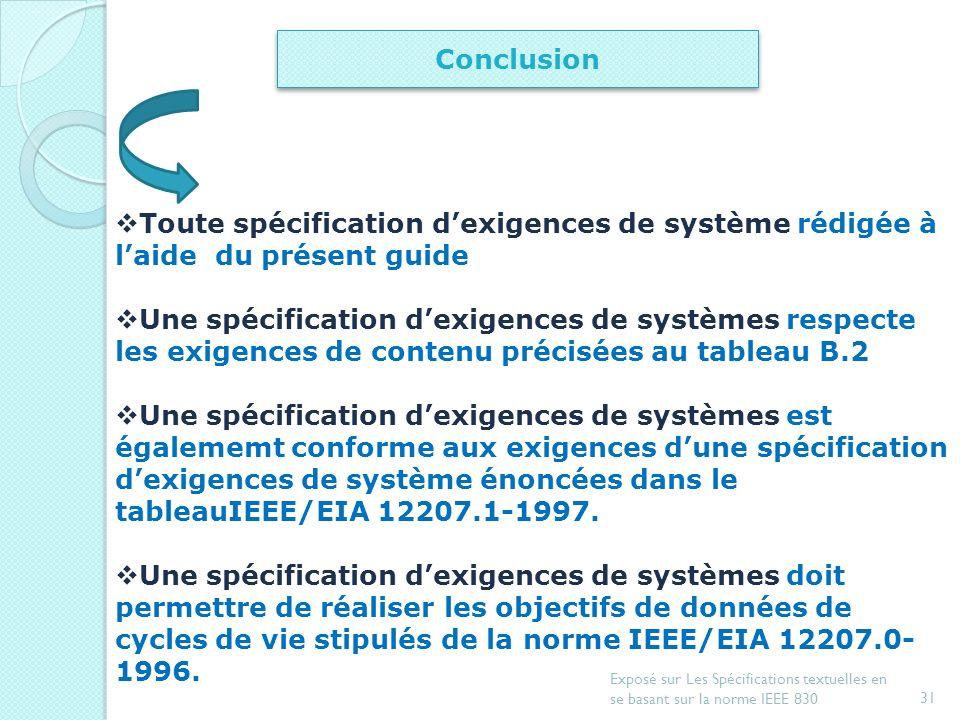 Conclusion Toute spécification d'exigences de système rédigée à l'aide du présent guide.