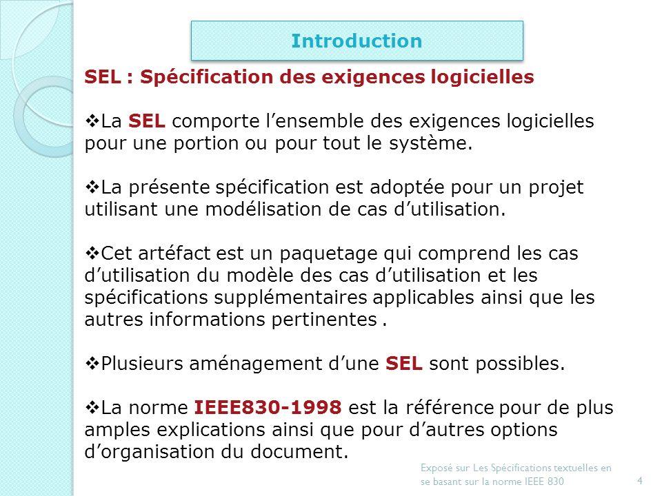 SEL : Spécification des exigences logicielles