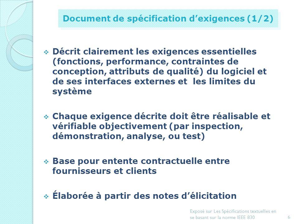 Document de spécification d'exigences (1/2)