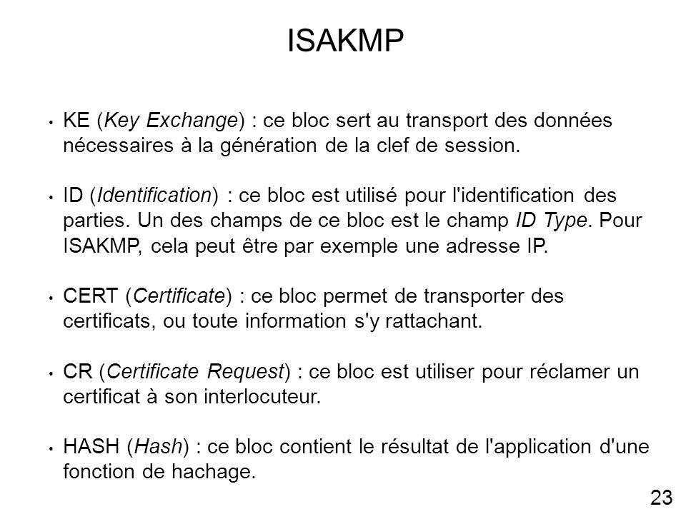 ISAKMP KE (Key Exchange) : ce bloc sert au transport des données nécessaires à la génération de la clef de session.