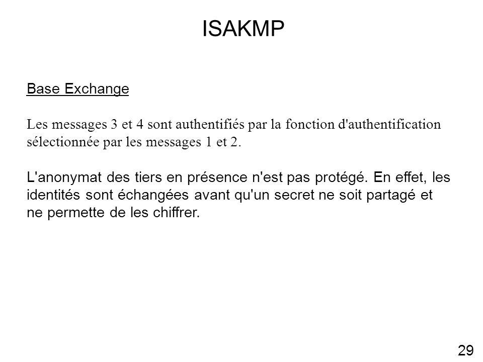 ISAKMP Base Exchange. Les messages 3 et 4 sont authentifiés par la fonction d authentification sélectionnée par les messages 1 et 2.
