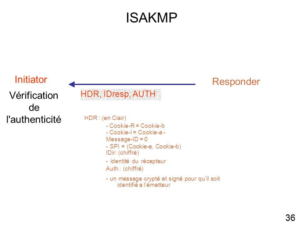 ISAKMP Initiator Responder Vérification de l authenticité 36