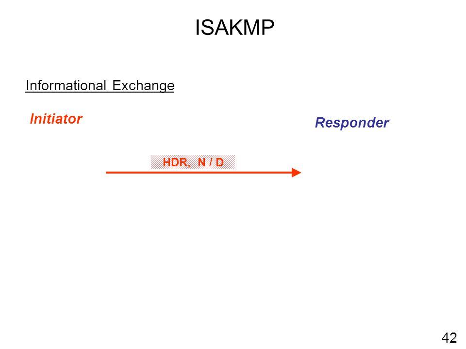 ISAKMP Informational Exchange Initiator Responder HDR, N / D 42