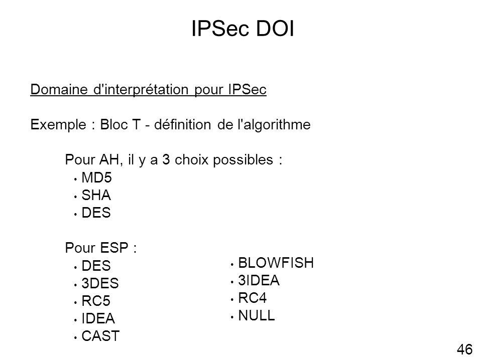 IPSec DOI Domaine d interprétation pour IPSec